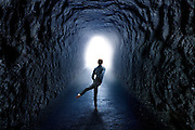 Tunnel with Man facing light