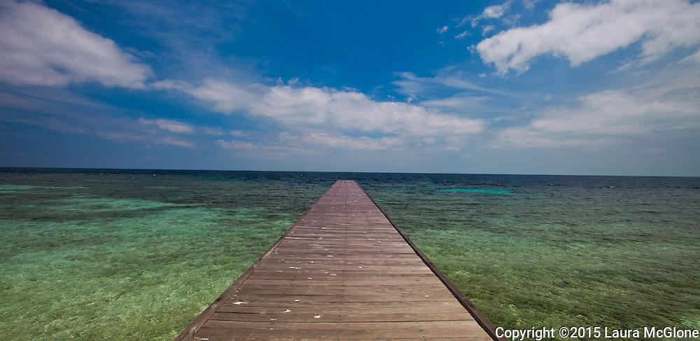 Long Pier to Tropical Island Sangalaki Derawan Island Indonesia Borneo Black & White