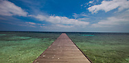 Long Pier to Tropical Island Sangalaki Derawan Island Indonesia Borneo Black & White