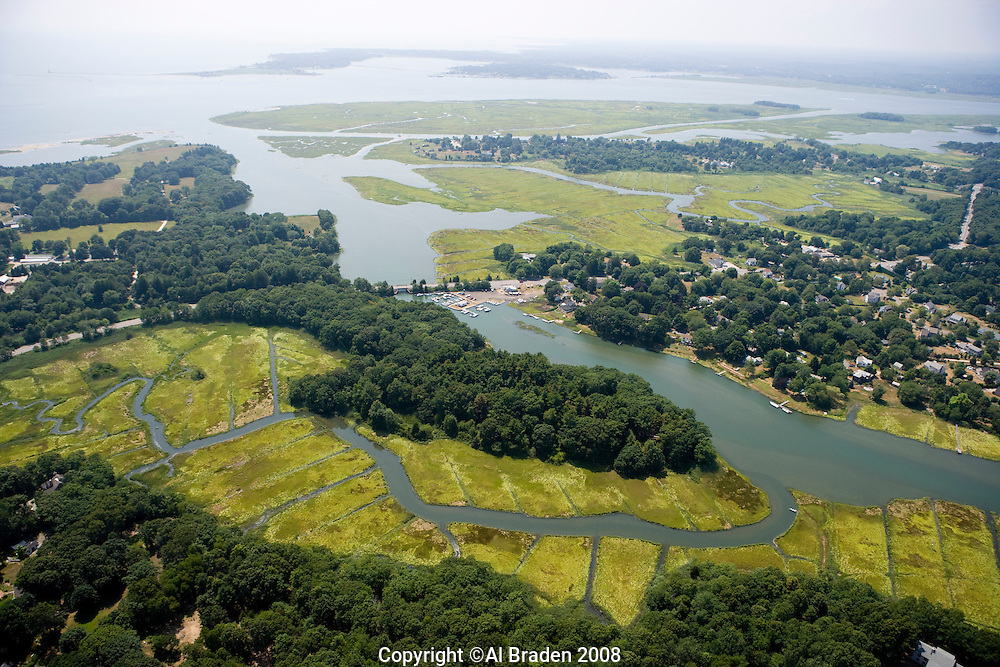 Aerial of Black Hall River in background, Old Lyme, CT., near the mouth of the Connecticut River.