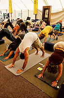 Yoga Class, Main Shrine Tent, Shambhala Mountain Center, Red Feather Lakes, Colorado USA