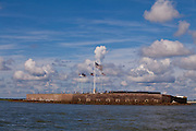 View of historic Fort Sumter, where the Civil War began from the mouth of Charleston Harbor, South Carolina