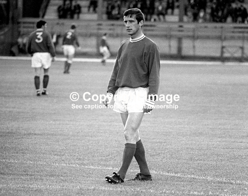 Dennis Viollet, Linfield FC, Belfast, N Ireland. English footballer who also played for Stoke City and Manchester United among others. A survivor of the Munich Air Disaster we was capped twice for England. August 1969. 196908000220DV2<br /> <br /> Copyright Image from Victor Patterson, 54 Dorchester Park, Belfast, UK, BT9 6RJ<br /> <br /> Tel: +44 28 9066 1296<br /> Mob: +44 7802 353836<br /> Voicemail +44 20 8816 7153<br /> Email: victorpatterson@me.com<br /> Email: victorpatterson@gmail.com<br /> <br /> IMPORTANT: My Terms and Conditions of Business are at www.victorpatterson.com