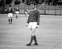 Dennis Viollet, Linfield FC, Belfast, N Ireland. English footballer who also played for Stoke City and Manchester United among others. A survivor of the Munich Air Disaster we was capped twice for England. August 1969. 196908000220DV2<br />
