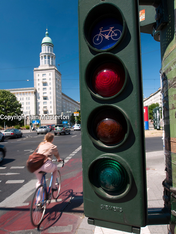 Bicycle traffic lights at Frankfurter Tor on Karl Marx Allee in former east Berlin in Germany