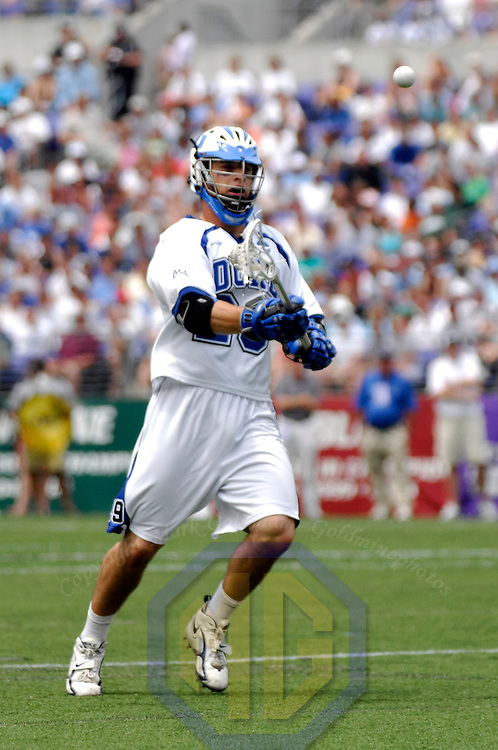 28 May 2007:  Duke University mid fielder Mike Catalino (29) scores a goal in the first quarter against the Johns Hopkins University Blue Jays in the NCAA Division I Lacrosse Championship game.  Johns Hopkins defeated the Duke Blue Devils 12-11 to win the NCAA Division I Lacrosse championship at M&T Bank Stadium in Baltimore, Md.