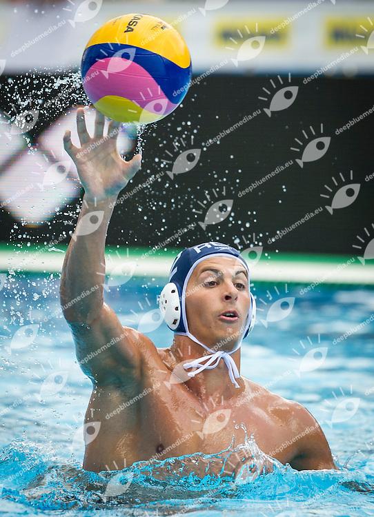 2 RADU Cosmin A. (C) ROU<br /> Spain (White) Vs Romania (Blue) Men<br /> LEN European Water Polo Championships 2014 - July 14-27<br /> Alfred Hajos -Tamas Szechy Swimming Complex<br /> Margitsziget - Margaret Island<br /> Day13 - July 26<br /> Photo Giorgio Scala/Inside/Deepbluemedia
