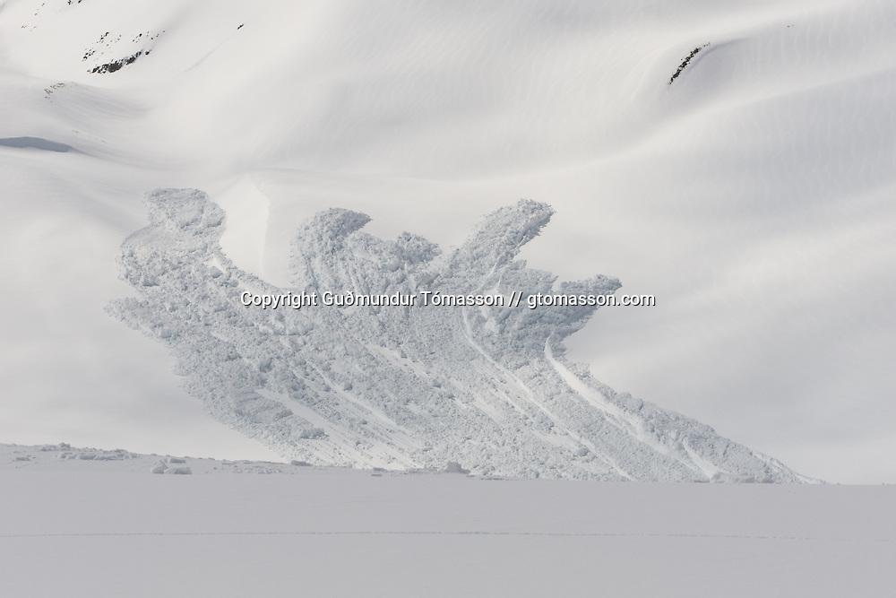 A big avalanche fell while we were ascending mt. Lambárhnjúkur 1027m. Hvalvatnsfjörður, Iceland.