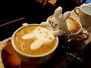 "VIDEO AVAILABLE - JAPAN OUT<br /> The first 3D latte art in the world<br /> <br /> 3D printer, 3D movie, and,,, next comes 3D Latte Art!!!<br /> 3D latte art is an art style where the artist uses whipped cream to decorate coffee cups with all sorts of shapes and designs. They say it was invented and spread throughout the world by Barista Kazuki Yamamoto. Yamamoto's work encompasses a wide range of designs, from animals to popular characters. The Cat and Rabbit that he made during our interview with him were so adorable that we hesitated to drink them. We went to the cafe that Yamamoto manages, called ""Reissue,"" in Harajuku, to see what 3D Latte Art is like in person.<br /> ©Exclusivepix Media"