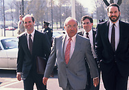 Albert Hakim arrives at the US District Court at the Irancontra legal proceedings.<br /> Photo by Dennis Brack