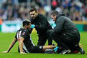 Joelinton (#9) of Newcastle United receives treatment for a head injury during the The FA Cup match between Newcastle United and Oxford United at St. James's Park, Newcastle, England on 25 January 2020.