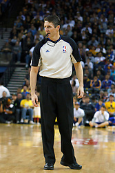 April 10, 2011; Oakland, CA, USA;  NBA referee Scott Foster (48)during the first quarter between the Golden State Warriors and the Sacramento Kings at Oracle Arena. Sacramento defeated Golden State 104-103.
