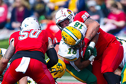 NORMAL, IL - October 05: John Ridgeway wraps up Bison ball carrier Adam Cofield during a college football game between the ISU (Illinois State University) Redbirds and the North Dakota State Bison on October 05 2019 at Hancock Stadium in Normal, IL. (Photo by Alan Look)