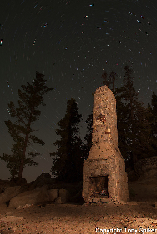 """""""Stars Over Chimney Beach 4"""" - A night photograph of Chimney Beach, on the Eastern Shore of Lake Tahoe"""