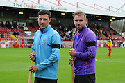 Crawley groundsmen Tom Martin and Ben Harwood show their support for the Shoreham disater victim Matt Grimstone, one of Brighton's groundsmen during the Sky Bet League 2 match between Crawley Town and Wycombe Wanderers at the Checkatrade.com Stadium, Crawley, England on 29 August 2015. Photo by Michael Hulf.