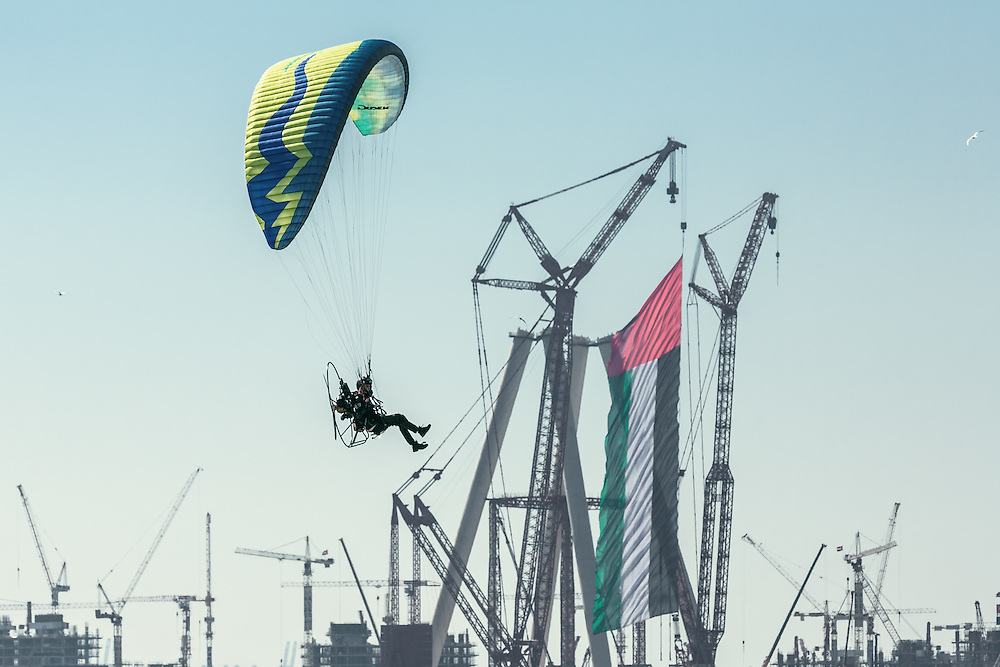 DECEMBER 2, 2015: Paramotors during the World Air Games (WAG) near the Dubai Marina
