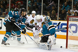December 11, 2010; San Jose, CA, USA; San Jose Sharks goalie Antti Niemi (31) saves a shot from Chicago Blackhawks right wing Jack Skille (20) during the first period at HP Pavilion. Mandatory Credit: Jason O. Watson / US PRESSWIRE