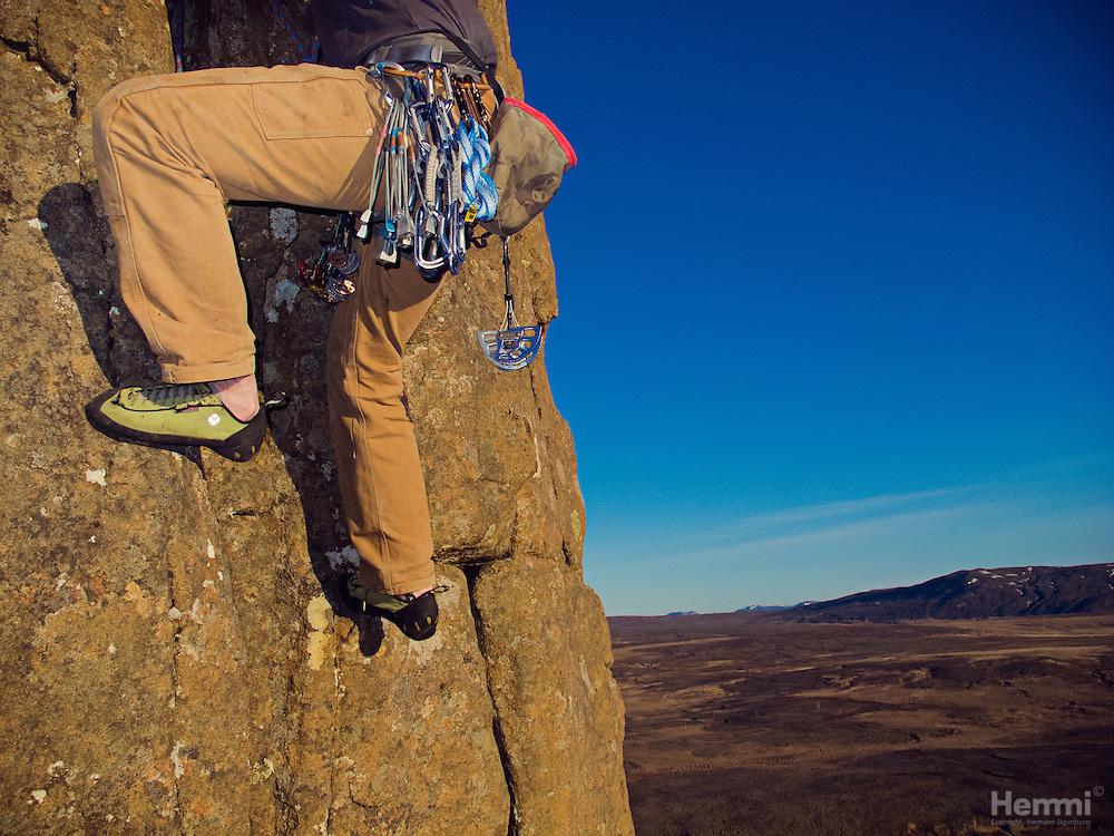 Rock climbing in Stardalur, Iceland.