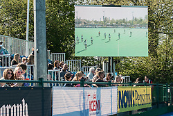 The big screen at the Investec Women's Hockey League Finals Weekend, Sonning Lane, Reading, UK on 13 April 2014. Photo: Simon Parker