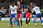 Bury Defender, Greg Leigh (3) and Bury Defender, Greg Leigh (3)  during the EFL Sky Bet League 1 match between Bury and Blackburn Rovers at the JD Stadium, Bury, England on 18 November 2017. Photo by Mark Pollitt.