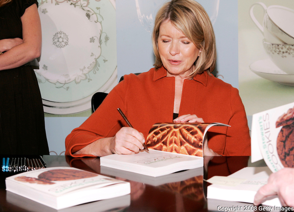 "NEW YORK - MARCH 16: Author Martha Stewart signs her books ""Wedding Cakes"" and ""Cookies"" at Macy's Herald Square on March 16, 2008 in New York City."