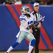 Oct 25, 2015; East Rutherford, NJ, USA; Dallas Cowboys wide receiver Lucky Whitehead (13) receives kickoff in the 2nd quarter at MetLife Stadium. Mandatory Credit: William Hauser-USA TODAY Sports