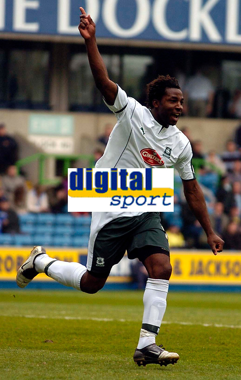 Photo: Alan Crowhurst.<br /> Millwall v Plymouth Argyle. Coca Cola Championship. 15/04/2006. Vincent Pericard celebrates his goal for Plymouth.