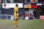 Joss Labadie of Newport County leaves the field, after being sent off during the EFL Sky Bet League 2 match between Newport County and Crawley Town at Rodney Parade, Newport, Wales on 1 April 2017. Photo by Andrew Lewis.