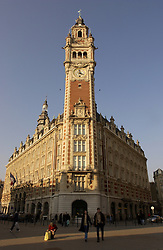LILLE , FRANCE - FEB-22-2003 - Lille , France has been named the 2004 European Capital of Culture. NORD-PAS-DE-CALAIS Chamber of Commerce & Industry on ïPlace du Theatre' - Lille Towers Traditional historic buildings. (PHOTO © JOCK FISTICK)..
