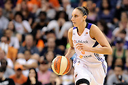 Sep 21, 2013; Phoenix, AZ, USA; Phoenix Mercury guard Diana Taurasi (3) dribbles the ball up the court against the Los Angeles Sparks at US Airways Center. The Sparks defeated the Mercury 82-73. Mandatory Credit: Jennifer Stewart-USA TODAY Sports