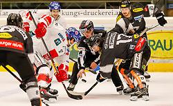 06.01.2019, Messestadion, Dornbirn, AUT, EBEL, Dornbirn Bulldogs vs HC TWK Innsbruck Die Haie, 36. Runde, im Bild Andrew Clark (HC TWK Innsbruck Die Haie) und Scott Timmins, (Dornbirn Bulldogs) // during the Erste Bank Eishockey League 36th round match between Dornbirn Bulldogs and HC TWK Innsbruck Die Haie at the Messestadion in Dornbirn, Austria on 2019/01/06. EXPA Pictures © 2019, PhotoCredit: EXPA/ Peter Rinderer