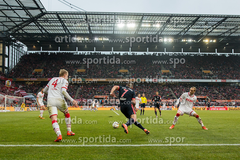 19.03.2016, Rhein Energie Stadion, Koeln, GER, 1. FBL, 1. FC Koeln vs FC Bayern Muenchen, 27. Runde, im Bild Franck Ribery (FC Bayern Muenchen #7) enteilt Frederik Soerensen (1. FC Koeln #4) und Marcel Risse (1. FC Koeln #7) // during the German Bundesliga 27th round match between 1. FC Cologne and FC Bayern Munich at the Rhein Energie Stadion in Koeln, Germany on 2016/03/19. EXPA Pictures &copy; 2016, PhotoCredit: EXPA/ Eibner-Pressefoto/ Sch&uuml;ler<br /> <br /> *****ATTENTION - OUT of GER*****
