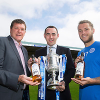 St Johnstone Limited Edition Scottish Cup Final Winners Whisky...03.07.14<br /> St Johnstone Manager Tommy Wright pictured with Stevie May and Peter Mackay from Morrison & Mackay whisky merchants with the limited edition 17 year old 'Old Perth' malt whisky to commemorate St Johnstone's first ever Scottish Cup victory on the 17th May 2014<br /> Peter Mackay from Morrison and Mackay<br /> Picture by Graeme Hart.<br /> Copyright Perthshire Picture Agency<br /> Tel: 01738 623350  Mobile: 07990 594431
