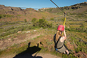 Zip lining in the Snake River Canyon with Zip the Snake in Twin Falls, Idaho.