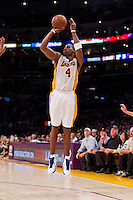 02 December 2012: Forward (4) Antawn Jamison of the Los Angeles Lakers shoots the ball against the Orlando Magic during the second half of the Magic's 113-103 victory over the Lakers at the STAPLES Center in Los Angeles, CA.