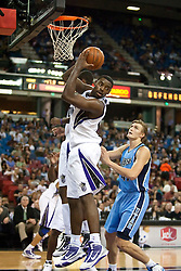 October 23, 2009; Sacramento, CA, USA;  Sacramento Kings guard Tyreke Evans (13) grabs a rebound during the third quarter against the Utah Jazz at the ARCO Arena.  The Jazz won 95-85.