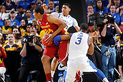 Terrence Jones #3 and Anthony Davis #23 of the Kentucky Wildcats defend against Percy Gibson #24 of the Iowa State Cyclones during the third round of the NCAA men's basketball championship on March 17, 2012 at KFC Yum! Center in Louisville, Kentucky. Kentucky advanced with an 87-71 win. (Photo by Joe Robbins)
