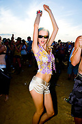 A sexy girl dancing in the crowd, Global Gathering festival, Long Marston Airfield, Stoke on Trent, UK. 28/29 July 2006