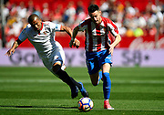 Burgui of Sporting Gijon and Mariano of Sevilla FC during the Spanish championship Liga football match between Sevilla FC and Sporting Gijon on April 2, 2017 at Sanchez Pizjuan stadium in Sevilla, Spain - photo Cristobal Duenas / Spain / ProSportsImages / DPPI