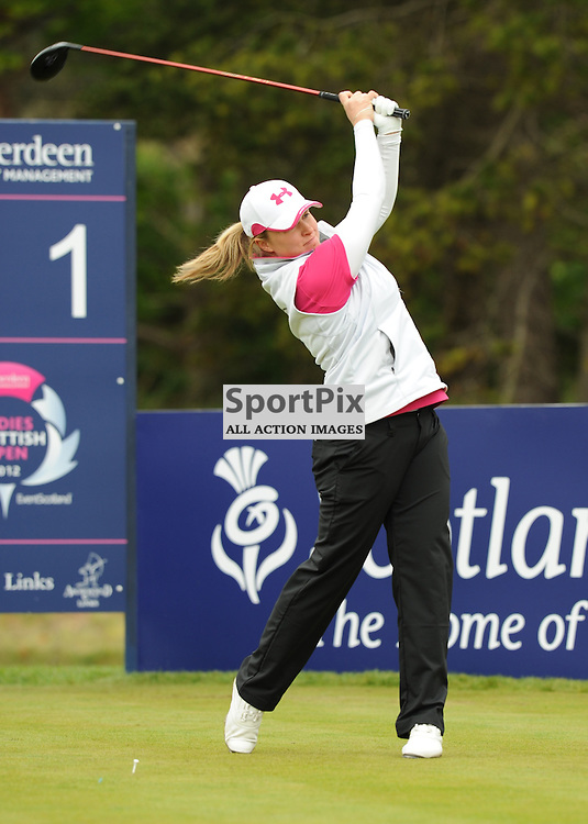 Kim Larratt tees off at the Aberdeen Asset Management Ladies Scottish Open at Archerfield Links Edinburgh 3-5th May 2012 (Lorraine Hill | STOCKPIX)