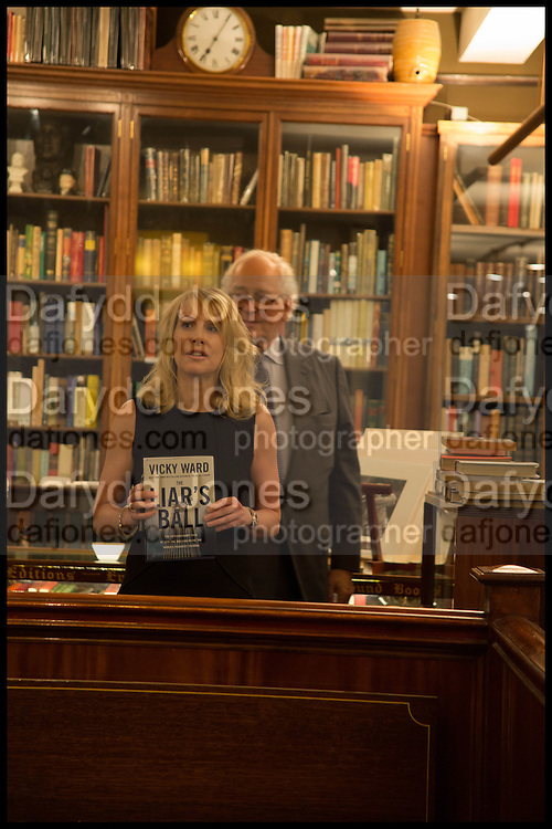SIR EVELYN DE ROTHSCHILD; VICKY WARD;   Book party for 'The Liar's Ball' by Vicky Ward hosted by  Sir Evelyn  de Rothschild at Henry Sotheran's, 2 Sackville Street London. 25 November 2014