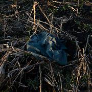 Part of an Ukrainian army uniform is seen among a destroyed crop field outside Petrovskiy village in Donetsk region.