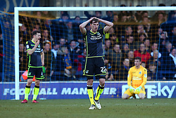 Joe Partington of Bristol Rovers cuts a dejected figure after his side concede a goal to Joe Pigott of AFC Wimbledon - Mandatory by-line: Robbie Stephenson/JMP - 17/02/2018 - FOOTBALL - Cherry Red Records Stadium - Kingston upon Thames, England - AFC Wimbledon v Bristol Rovers - Sky Bet League One