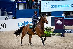 WILLIAMS Lisa (RSA), Campbell<br /> Göteborg - Gothenburg Horse Show 2019 <br /> Longines FEI Jumping World Cup™ Final<br /> Training Session<br /> Warm Up Springen / Showjumping<br /> Longines FEI Jumping World Cup™ Final and FEI Dressage World Cup™ Final<br /> 03. April 2019<br /> © www.sportfotos-lafrentz.de/Stefan Lafrentz