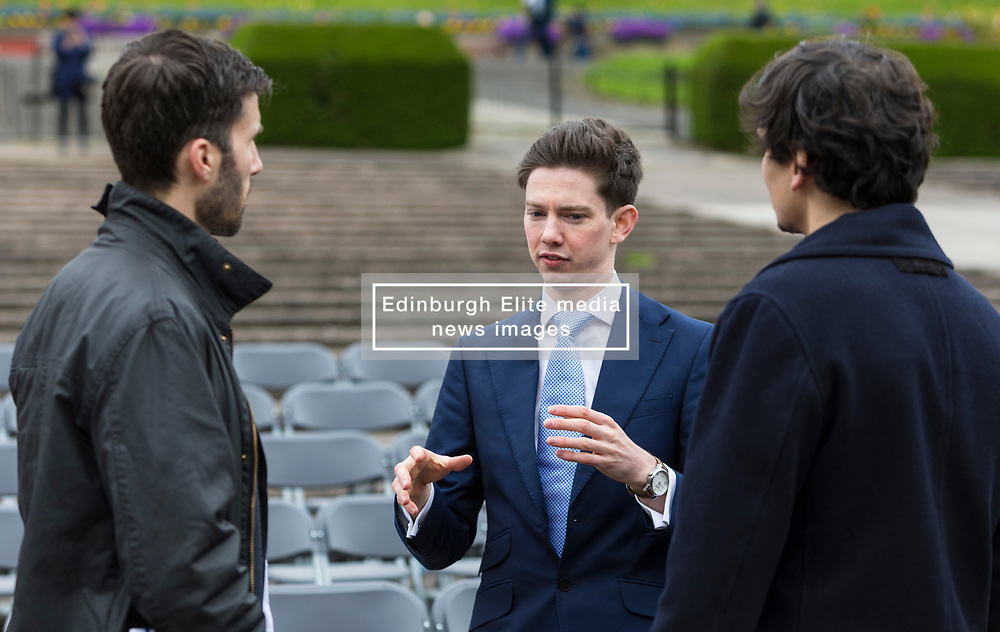 International architects fly in to Edinburgh for their first sight of West Princes Street Gardens as they compete to design a new venue to replace the Ross Bandstand.<br /> <br /> Chair Norman Springford and Project Manager David Ellis from the Ross Development Trust provide visiting teams with a tour of the Gardens and existing Bandstand site.<br /> <br /> A competition to replace the Ross Bandstand in the heart of Edinburgh's West Princes Street Gardens with a new landmark Pavilion has received worldwide interest from architects and designers.<br /> <br /> Entries from 125 teams spanning 22 countries and made of 400 individual firms have been narrowed down to seven finalists. <br /> <br /> The seven finalists will be invited to create concept designs for the £25m project brief, which includes a new landmark venue to replace the bandstand, a visitor centre and subtle updates to West Princes Street Gardens.<br /> <br /> Each of the finalist teams will be led by the following architects:<br /> <br /> - Adjaye Associates (UK)<br /> - BIG Bjarke Ingels Group (Denmark)<br /> - Flanagan Lawrence (UK)<br /> - Page \ Park Architects (UK)<br /> - Reiulf Ramstad Arkitekter (Norway)<br /> - wHY (USA)<br /> - William Matthews Associates (UK) and Sou Fujimoto Architects (Japan)<br /> <br /> Pictured: David Ellis with members of the team from Adjaye Associates