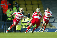Photo: Chris Ratcliffe.<br />Southend United v Doncaster Rovers. Coca Cola League 1. 22/04/2006.<br />James Coppinger of Doncaster celebrates scoring the winning goal