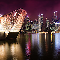 Louis Vuitton boutique and financial district in the background, Marina Bay Sands, Singapore