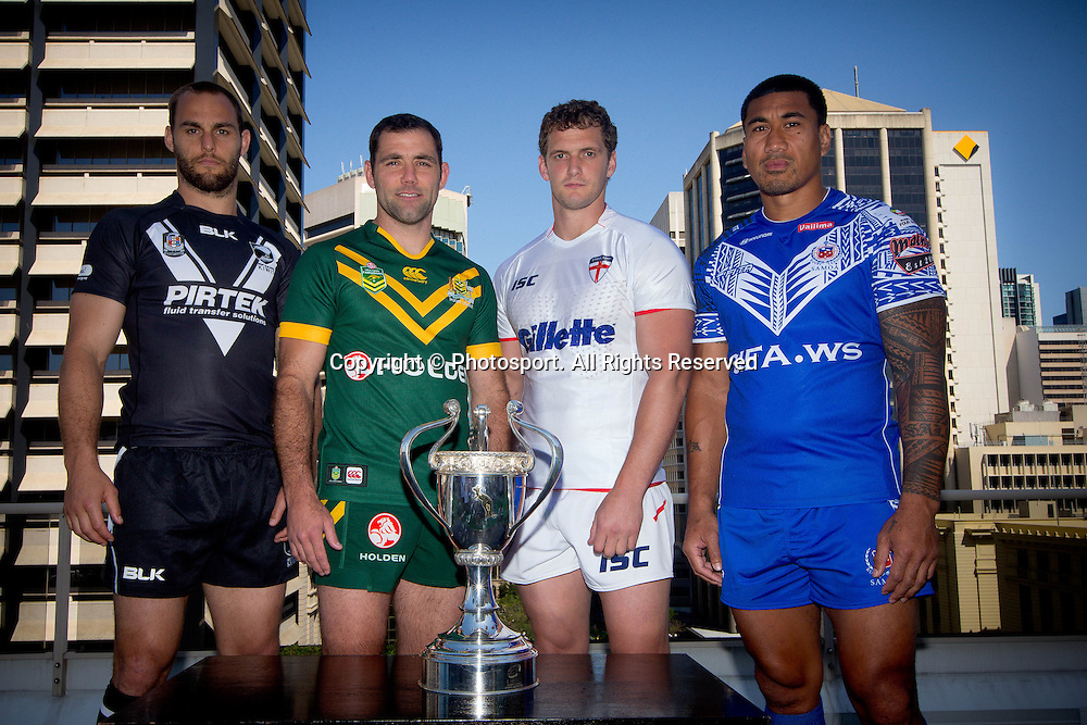 Four Nations captain's l-r Simon Mannering , Cameron Smith, James Graham and David Fa'alogo during a preview 4 Nations press conference, Brisbane Australia on October 24, 2014.