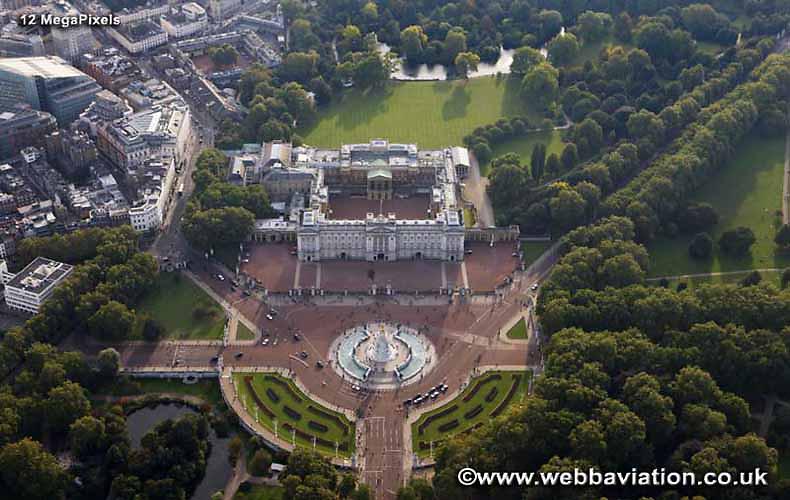 aerial photograph of Buckingham Palace London England UK