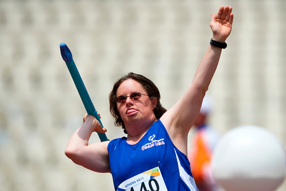 29.06.2011 Special Olympics World Summer Games from Athens. Stacey Stevenson from USA team in action during the mini javelin discipline